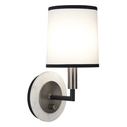 Robert Abbey - Axis Wall Sconce - Add a little mood lighting to your foyer, hallway or staircase with this wall scone. Set on a honed travertine or marble wall plate, it's fitted with a flared fabric shade with contrasting trim.