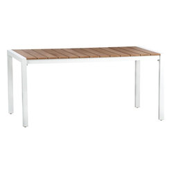 Chelsea Dining Table - This is for the larger parties. This white-and-wood beauty would look mighty fine on a green lawn! I love the clean lines and rust-resistant aluminum frame.