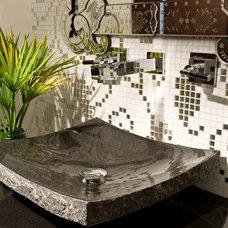 Contemporary Powder Room by Pfuner Design - Interior Design Miami