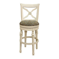 American Heritage - American Heritage Livingston 30 Inch Barstool in Antique White - One look at this stool and you know that it will provide many years of comfort. Notice all the detail in the wood carved back of this Livingston stool. The paisley fabric seat brings out the richness of the antique white frame. What's included: Barstool (1).