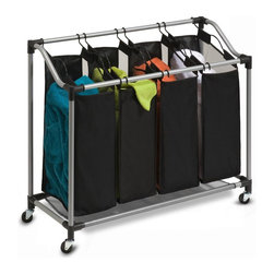 Honey Can Do - Steel Elite Quad Sorter in Silver and Black - Sleek and contemporary. Stylish and highly functional. Smooth glide wheels for easy maneuvering. Durable and rust-resistant. Four removable sorter bags are convenient for sorting and carrying laundry. Breathable mesh material on two sides to keep laundry from storing odors. Bottom of the sorter to help keep heavy loads off of the ground. Lifetime limited warranty. Made from polyester, steel and plastic. Black bags worth silver frame. Assembly required. 37.3 in. L x 15 in. W x 32.50 in. H (8.60 lbs.)