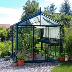 Janssens - Janssens Royal Victorian 7.75 x 10.1-Foot Greenhouse Kit - VI-23/PP3L - Shop for Greenhouses from Hayneedle.com! Additional FeaturesFeatures 4 interior shade net sectionsNet sections opens and closes with the pull of a cordEach side is independent of the otherVertical glass pieces are only 1 pieceSingle glass design keeps greenhouse cleanerHas 2 roof windows and 1 Louvre windowLouvre window adds additional air flowA large seedling bench runs the length of the greenhouseSeedling bench attaches to the frameSeedling bench measures 4 diam. x 20W inchesThe greenhouse has a top shelf measuring 4.5W inchesShelf units are made to match the frameHas a full length gutter with downspouts on each sideKit includes 2 shelves shade cloth and baseAlso includes an automatic window openerBase can anchor to the ground wood platform or concreteIncludes assembly instructions and a DVDDoor measures 28W x 72H inchesSidewall height measures 6.58 feetPeak height measures 8.5 feetMeasures 7.75W x 10.1L x 8.5H feetBring beauty and sophistication to your yard with the large and spacious Royal Victorian 7.75 x 10.1-Foot Greenhouse Kit. The greenhouse frame is constructed from thick and strong gauge aluminum while the 4mm tempered glass panels sealed with heavy rubber adds insulation value and safety. The single glass panel design makes your greenhouse stronger and helps to keep it clean. The greenhouse has four interior shade sections which open and close with the pull of a cord. Each section is independent of the other depending on the sun's location. The greenhouse has two roof windows and a Louvre window which gives additional air flow. A large seedling bench which attaches to the frame runs the length of the greenhouse. Two full length gutters with downspouts collects natural water. There is also a misting system with a hose attachment to make watering your plants simple.The greenhouse kit includes two shelves which match the frame color a shade cloth automatic window opener and a base. You can choose to connect the base to the ground a wood platform or to concrete. A truly versatile greenhouse assembly instructions and a DVD are included. Assembly is a weekend project for one or two people.About JanssensKnown as the incredibly sensible greenhouse company Janssens has been associated with quality greenhouses and orangeries and continuously gains knowledge and experience with these products. If you're looking for a greenhouse they're confident they have what you want. Janssens bases their business on their ability to listen and adapt to individual customer requirements from the get go. Their experience knowledge and flexible approach together with a high level of openness and integrity have resulted in an enviable level of customer recommendation. As they continue to progress they retain their old fashioned virtues of customer service and satisfaction.
