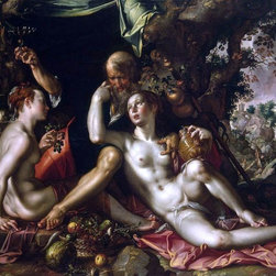 """Joachim Wtewael Lot and his Daughters - 18"""" x 24"""" Premium Archival Print - 18"""" x 24"""" Joachim Wtewael Lot and his Daughters premium archival print reproduced to meet museum quality standards. Our museum quality archival prints are produced using high-precision print technology for a more accurate reproduction printed on high quality, heavyweight matte presentation paper with fade-resistant, archival inks. Our progressive business model allows us to offer works of art to you at the best wholesale pricing, significantly less than art gallery prices, affordable to all. This line of artwork is produced with extra white border space (if you choose to have it framed, for your framer to work with to frame properly or utilize a larger mat and/or frame).  We present a comprehensive collection of exceptional art reproductions byJoachim Wtewael."""