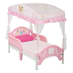 Disney Princess Toddler Bed with Canopy - This toddler bed comes with a grand canopy to adorn your princess while she's sleeping. It also comes with bed rails that run down half the length of the bed for security. I like that this bed and canopy retails for under $100.