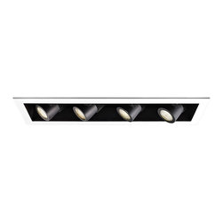 """WAC - WAC 20 Degree 2700K LED Recessed Housing Quad Spot Light - Offer a smooth finished look to your ceilings with this 2700K LED recessed housing designed for new construction projects. A white finish trim surrounds the black housing which holds four dimmable spot lights with a 20 degree beam spread. For non-insulated ceilings. ENERGY STAR® rated. ETL and cETL listed. Compatible with WAC recessed lighting products. 4"""" WAC new construction quadruple spot light recessed housing. 20 degree beam spread. 2700K color temperature; also available in 3000K. Includes four 16 watt LEDs. Light output is 1100 lumens per light. Comparable to four 75 watt MR16 bulbs. Bulbs average 50000 hours at 3 hours a day. 100 percent to 10 percent dimming. CRI is 85. 120 to 277 volts. ENERGY STAR® rated. For non-insulated ceilings. 29"""" wide. 6"""" high.  4"""" WAC new construction quadruple spot light recessed housing.  20 degree beam spread.  2700K color temperature; also available in 3000K.  Includes four 16 watt LEDs.  Light output is 1100 lumens per light.  Comparable to four 75 watt MR16 bulbs.  Bulbs average 50000 hours at 3 hours a day.  100 percent to 10 percent dimming.  CRI is 85.  120 to 277 volts.  ENERGY STAR® rated.  For non-insulated ceilings.  29"""" wide.  6"""" high."""