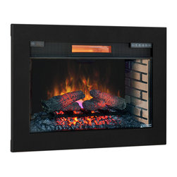 ClassicFlame - ClassicFlame 28-In SpectraFire Plus Infrared Electric Insert & Trim Kit - 28II30 - The ClassicFlame 28-inch SpectraFire Plus Infrared Electric Insert & Trim Kit is ideal for retrofitting existing wood or gas fireplaces into energy efficient electric fireplaces. The all LED technology creates a truly life-like wood burning fire appearance. Watch as the flames appear to rise from the realistic resin logs and glowing ember bed. The firebox features the patented SpectraFire Plus flame effect that allows you to customize the look by selecting 5 flame colors, 5 flame speeds and 5 brightness levels. For added convenience, the unit also features an on/off timer. You will have no trouble staying warm with the supplemental heat created by the powerful quartz infrared heater which easily warms your room up to 1,000 Sq.Ft. in size. An additional benefit of infrared heat is its ability to work with the natural humidity of the room, reducing the dryness typically created from traditional units. You'll love the instant ambiance this unit creates in your room with just the simple click of a button. It doesn't have to be cold to enjoy this fireplace, it can be used year-round as the flame effects can be enjoyed independent of the heater function. As an added safety feature, the Safer Plug technology helps prevent the unit from overheating.