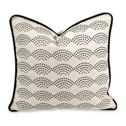 IK Ledux Pillow with Down Insert - A soft white cotton cover is embellished with a dotted scale pattern in contrast to the Lalasa pillow designed by Iffat Khan. With down fill.
