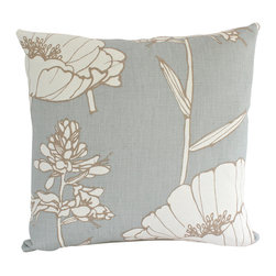 The Pillow Studio - Light Blue Blue Poppyfiled Pillow Cover with Large Flower - I love how this graphic Thom Filicia pattern is balanced with subtle blue and ivory on this pillow-- it allows for subtle impact. This pillow will be noticed but will not take over.