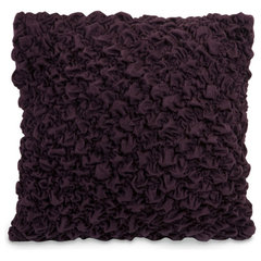 contemporary pillows Eggplant Purple Rosette Accented Pillow