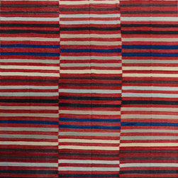 """ALRUG - Handmade Multi-colored Oriental Kilim  8' 8"""" x 10' (ft) - This Afghan Kilim design rug is hand-knotted with Wool on Wool."""