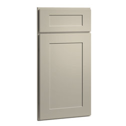 CliqStudios.com - Dayton Urban Stone Gray Paint Shaker Kitchen Cabinet Sample - Dayton's Shaker inspired recessed panel doors and 5-piece drawer fronts in warm modern Urban Stone Paint blend perfectly with transitional design or contemporary style.  CliqStudios' Shaker kitchen cabinets offer bring simplicity and style to coordinate beautifully with stainless appliances, nickel finish hardware, glass subway tile backsplash, modern bar stools, hardwood floors and granite countertops.  Shaker works equally well in an open concept kitchen, galley kitchen, u-shaped kitchen, kitchen island, kitchen peninsula or in a nearby kitchen desk or window seat. Consider coordinating with a variety of recessed lighting, undercabinet task lighting, pendant lighting and other decorative accents.