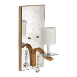 Worlds Away - Worlds Away Antique Mirror Sconce with Gold Leaf Detailing BETTE G - Antique mirror sconce with gold leaf detailing and glass bobesche. Ul approved for one 40 watt candelabra bulb. Off white shade included. Hardwire only.