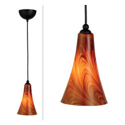 DHI-Corp - Carson Art Glass Pendant, Caramel Glass - The Design House 516807 Carson Art Glass Pendant Light illuminates any room and made of formed steel with an oil rubbed bronze finish and a beautiful caramel swirl glass shade. This pendant's linear construction and contemporary appeal extends long from the ceiling with a soft downward facing lamp gently diffusing light. Measuring 8.6-inches (H) by 5.4-inches (W), this 1.8-pound pendant has an adjustable stem that can reach up to 72-inches to perfectly suit your ceiling. The warm aesthetic and modern touches will add style to a bar, dining room or kitchen. This pendant uses (1) 60-watt medium base incandescent bulb and includes a 5-foot SO Cord. This product is UL and CUL listed. The Design House 516807 Carson Art Glass Pendant comes with a 10-year limited warranty to the original purchaser to be free from defect in materials and workmanship. Design House offers products in multiple home decor categories including lighting, ceiling fans, hardware and plumbing products. With years of hands-on experience, Design House understands every aspect of the home decor industry, and devotes itself to providing quality products across the home decor spectrum. Providing value to their customers, Design House uses industry leading merchandising solutions and innovative programs. Design House is committed to providing high quality products for your home improvement projects.