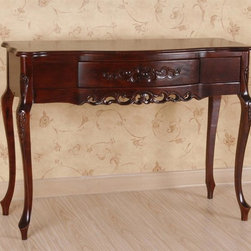 International Caravan - 1 Drawer Carved Wood Console Table - Hand carved. Great indoor. Dual stain finish. Minimal assembly required. 39 in. W x 16 in. D x 32 in. H