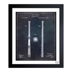 "The Oliver Gal Artist Co. - ''Baseball Bat 1885' 10""x12"" Framed Art - Exclusive blueprints inspired by real vintage patent drawings & illustrations. Handcrafted in the Oliver Gal Artist Co. Studios in Miami, Florida. Produced on matte proofing paper and hand framed by professional framers in a 1.2"" premium black wood frame. Perfect for any interior design project, gifts, office décor, or to add special value to one of your favorite collections."