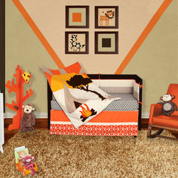 African Dream 5 or 6 Piece Crib Baby Bedding Set - Our African Dream collection transforms your nursery into the ultimate safari experience, transporting your budding little adventurer directly to the rugged outback.  Play along with Zebra and Monkey amid the bold colors of an African sunset as they camp out by a warm fire.  With scenery inspired by the true African wilderness, your baby will be captivated with this boldly distinctive and tastefully modern bedding ensemble.