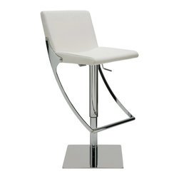 """Nuevo Living - Swing Adjustable Bar Stool, White - Swing Adjustable Bar Stool features full 360 degree swivel for optimum flexibility in use and a gas lift mechanism so you can adjust your designed height from 20.5"""" to 30.5"""". The seat is made of leather upholstery and CFS foam, which is both comfortable and luxurious. The polished stainless steel base of Swing barstool is built for years of dependable use. The modern design makes the stool very versatile and offers height adjustability so you can use it just about anywhere."""