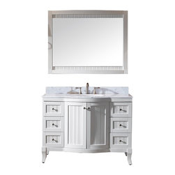VIRTU - Virtu USA Khaleesi 48 inch Single Sink White Vanity with Carrara White Marble Co - Virtu USA 48 inch Khaleesi single sink bathroom vanity sends off a flamboyant confidence of style. The vanity offers two soft closing doors,six soft closing drawer,a matching mirror and an Italian carrera white marble countertop with a backsplash.