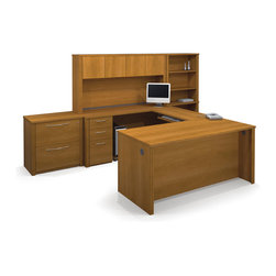 Bestar - Bestar Embassy Cappuccino Cherry 132 x 92 U-Shaped Workstation Desk - The work surface is made of a durable 1 inch commercial grade work surface with melamine finish that resist scratches stains and wears. It features an impact resistant 0.25 cm PVC edge and classic moldings. Grommets and a rubber strip are available on the station for efficient wire management. The hutch for credenza offers a large closed storage space. The opening has 11 3/4 high which is ideal for letter format binders. The doors are fitted with strong adjustable hinges. Each assembled pedestal offers two utility drawers and one file drawer with letter/legal filing system. One lock secures bottom two drawers. The drawers are on ball-bearing slides and the keyboard drawer features double-extension slides for a smooth and quiet operation. The lateral file offers two file drawers for letter/legal filing on ball-bearing slides for smooth and quiet operation and one lock that secures both drawers. The bookcase has five shelves three of which are adjustable and is modular. The higher part can be placed on top of the Embassy lateral file. Both the Lateral File and the Bookcase feature the signature moldings of the Embassy collection. The entire set meets or exceeds ANSI/BIFMA performance standards and the workstation is fully reversible. Embassy offers numerous configuration possibilities for various uses. Offering smaller desks this collection is ideal for every type of workplace including the home office.Nowadays performance productivity and quality of life are fundamental to achieving our personal and professional goals. Bestar's home and office furniture design is based upon these criteria as well as on today's reality. On average we spend about 40 hours a week at work (home or office) which represents a large portion of our time. Various factors have a direct impact on our well-being at work: an important concern in the current employment environment continually changing and at an ever-inc