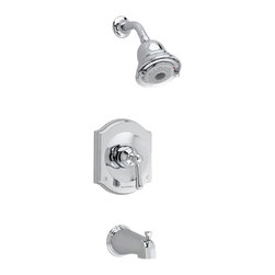 American Standard - American Standard T415.502.002 Portsmouth FloWise Bath/Shower Trim Kit,  Chrome - American Standard T415.502.002 Portsmouth FloWise Bath/Shower Trim Kit,  Chrome. This Shower features a metal lever handle, wall escutcheon, water sving FloWise 3-function showerhead, metal slip-on diverter tub spout, pressure balancing valve cartridge, Ideal for use in hard water, adjustable hot limit safety stop