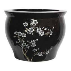 """Oriental Furniture - 14"""" Flower Blossom Fish Bowl - This stunning porcelain fish bowl is decorated with off-white plum blossoms and an exquisite high-gloss glaze. Traditionally used as a fish bowl, it makes a wonderful planter or display vase and is a perfect way to add a subtle Asian accent to the home."""