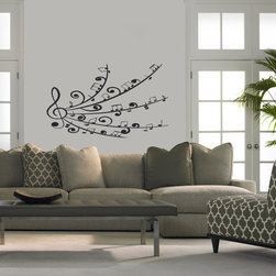 Wall Vinyl Sticker Decals Art Mural Stylish Treble Clef Music Note Scale Pattern - Create your style. Stylize your world with vinyl stickers!