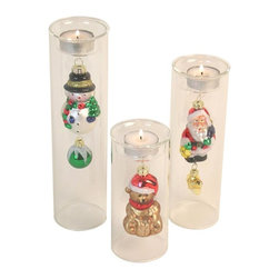 Danya B - Christmas Tea Light Holder Set - Cylinder holders. Assorted hanging christmas ornaments. Santa claus, snow man and teddy bear ornaments. Snowman: 2.5 in. L x 2.5 in. W x 10 in. H. Santa: 2.5 in. L x 2.5 in. W x 8 in. H. Bear: 2.5 in. L x 2.5 in. W x 6 in. H