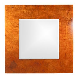 """Howard Elliott - Kayla Bright Lotus Orange Mirror with Black Highlights - Kayla Bright Lotus Orange Mirror with Black Highlights, Frame Dimensions: 46"""" X 46"""" X 2""""; Mirror Dimensions: 26"""" X 26""""; Finish: Bright Lotus Orange Lacquered Frame with Black Accents; Material: Wood;Beveled: Yes;Shape: Square;Weight: 46 lbs;Included: Brackets, Ready to Hang Vertically or Horizontally"""