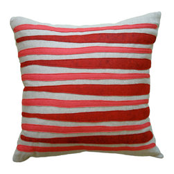 Balanced Design - Felt Appliqué Linen Pillow - Morris, Red/Strawberry, 16x16 - Felt appliqué designs make a bold statement on this soft linen pillow. It's perfect for adding a burst of color and pattern to your home while also supporting hand-crafted work in the United States. Each pillow is sewn in Massachusetts and filled with fiber made from recycled plastic bottles. You can't go wrong with this ecofriendly design.
