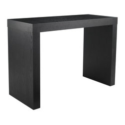 Sunpan Imports - Faro Panel End Rectangular Bar Table in Matte Black Finish - Simple, modern lines and solid construction make this Faro collection bar table essential for your contemporary décor. It has a spacious rectangular top, with room on each side for stools. Table's matte black finish adds urban attitude and inviting color. Stools not included. 56 in. L x 24 in. W x 40 in. HDistinctly urban bar table with room for two stools on each side.