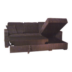 Beverly Hills Furniture Inc. - Incognito Sectional Sofa in Graphite, Right Chaise - Incognito Italian Leather Sectional makes your living room contemporary and stylish. This great sectional has polyester fiber basket weave fabric upholstery, kiln dried solid wood frame construction for durability, reinforced corner blocks for added strength.