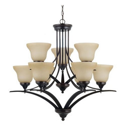 Sea Gull Lighting - Sea Gull Lighting 31175 Brockton Nine Light Chandelier - This chandelier from the Brockton Collection has an aviation inspired design that melds traditional and contemporary elements for a final style that will enhance any room's decor.Features: