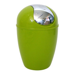 Pp Mini Waste Basket Anise Green - This mini waste basket for bathrooms is made of shiny polypropylene and features a convenient chrome plated finish swing top lid. This versatile flaring shape mini waste basket is the perfect size for small spaces and fits easily on sinks or bathroom countertops. Diameter of 5.12-Inch and height of 7.95-Inch. Clean with soapy water. Color shiny anise green. Keep your bathroom countertop clean in a trendy style with this lovely mini waste basket! Complete your decoration with other products of the same collection. Imported.