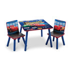 "Adarn Inc - Blue Cozy Durable Frame Safe Boys Little Children Kids Cars Desk Table Chair Set - This great new Cars Table and Chair Set is the perfect chair for your little speed racer. Featuring Lightning Mcqueen and other Cars racers, the soothing chair provides a perfect spot for your little racer to watch his favorite shows and relax after a long day. Made of solid wood construction, this set is made to last. Perhaps even more importantly, is the ultra cool ""first to the finish"" design theme. Die-cut chair backs, large table surface. The Cars Table and Chair Set is perfect chair for studying and relaxing."