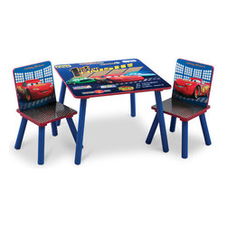"""Adarn Inc - Blue Cozy Durable Frame Safe Boys Little Children Kids Cars Desk Table Chair Set - This great new Cars Table and Chair Set is the perfect chair for your little speed racer. Featuring Lightning Mcqueen and other Cars racers, the soothing chair provides a perfect spot for your little racer to watch his favorite shows and relax after a long day. Made of solid wood construction, this set is made to last. Perhaps even more importantly, is the ultra cool """"first to the finish"""" design theme. Die-cut chair backs, large table surface. The Cars Table and Chair Set is perfect chair for studying and relaxing."""