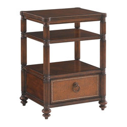 Lexington - Tommy Bahama Home Landara Seacliffe Night Table - Burnished Maple and dark Cherry inlay top with a quartered Rosewood boarder adds a luxurious element to this casual bedside piece. With two open shelves for display and one nail head trimmed woven raffia drawer, adorned with hardware finished in an aged brass patina, this piece offers as much storage as it does romance.