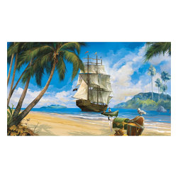 York Wallcoverings - Pirates Ship Treasure Giant Wallpaper Accent Mural - Features: