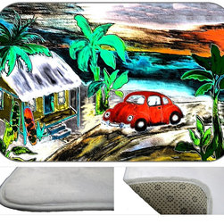 Funky Beach Bug Plush Bath Mat, 20X15 - Bath mats from my original art and designs. Super soft plush fabric with a non skid backing. Eco friendly water base dyes that will not fade or alter the texture of the fabric. Washable 100 % polyester and mold resistant. Great for the bath room or anywhere in the home. At 1/2 inch thick our mats are softer and more plush than the typical comfort mats.Your toes will love you.