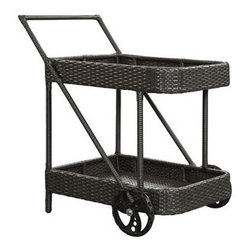 "LexMod - Replenish Outdoor Patio Beverage Cart in Espresso - Replenish Outdoor Patio Beverage Cart in Espresso - Roll out the refreshments and let your company take care of the rest. Replenish is a functionally vital and welcome addition to your outdoor space. Made of the same rattan type material as our outdoor sets, tables and chairs, its an element you wont want to do without. Stock Replenishs two storage areas with some splendid food and drinks, and roll it to your outdoor furniture selection of choice. Set Includes: One - Replenish Cart Synthetic Rattan Weave, Powder Coated Aluminum Frame, Water & UV Resistant, Ships Pre-Assembled Overall Product Dimensions: 35""L x 19.5""W x 34.5""H - Mid Century Modern Furniture."