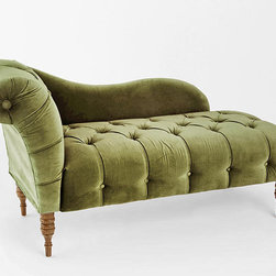 Edie Velvet Chaise, Green - I chose this option while thinking of how hard it is for me to remove my winter boots sometimes. I believe a fainting couch would make things much easier, although I may never get up.