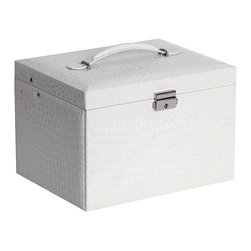 Mele Jewelry - Mele and Co. Dahlia Drop Front Jewelry Box with Lock in White - Mele Jewelry - Jewelry Boxes - 0069710