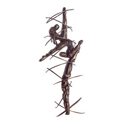 Danya B. - Abstract Divers Three Dimensional Iron Wall Plaque - Bodies in motion are cast in iron, creating a vibrant, modern art sculpture for your wall. Three interlocking divers, abstracted with stabilizing bands of iron that are like splashes of water, make up this stunning sculpture,
