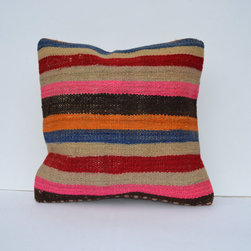 Handwoven Kilim Pillow by Omerfarukaksoy - Stripes forever. It's so awesome to see that you can decorate your sofa with beautiful handwoven kilim pillows for the cost of a lunch.