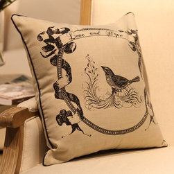 French Style Birds in Circle Pillow Cover Retro - Size: L45*W45cm