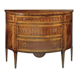 "Inviting Home - Louis XVI Inlaid Chest - large - Louis XVI style three drawer half-round chest finished in mahogany veneer inlaid with maple cherry and palissander. The drawers have antiqued brass hardware and varese paper lining; 46""W x 18""D x 34-1/2""H hand-made in Italy Louis XVI style inlaid half-round chests available in two sizes. Louis XVI chests have three drawer and finished in mahogany veneer inlaid with maple cherry and palissander wood. The drawers have antiqued brass hardware and varese paper lining. This inlaid chests are hand-made in Italy."
