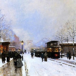 """Luigi Loir The Porte Maillot, Snow Effect, Sunset   Print - 14"""" x 28"""" Luigi Loir The Porte Maillot, Snow Effect, Sunset premium archival print reproduced to meet museum quality standards. Our museum quality archival prints are produced using high-precision print technology for a more accurate reproduction printed on high quality, heavyweight matte presentation paper with fade-resistant, archival inks. Our progressive business model allows us to offer works of art to you at the best wholesale pricing, significantly less than art gallery prices, affordable to all. This line of artwork is produced with extra white border space (if you choose to have it framed, for your framer to work with to frame properly or utilize a larger mat and/or frame).  We present a comprehensive collection of exceptional art reproductions byLuigi Loir."""