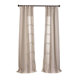 "Exclusive Fabrics & Furnishings, LLC - Del Mar Stone Linen Blend Stripe Curtain - 5% Linen & 95% Polyester Blend. 3"" Pole Pocket with Hook Belt & Back Tabs. Unlined . Imported. Weighted Hem. Dry Clean Only."