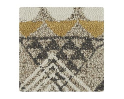 "Thea 12"" sq. Rug Swatch - Genevieve Bennet's global mash-up brings together traditional Scottish argyle and African shoowa textiles, overlapping motifs in a vibrant, dimensional rug that's plush and soft underfoot. Hand hooked by skilled artisans of handspun natural and semi-twist wool yarn."