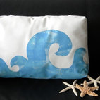 Waves Poolside Pillow painted blue lumbar headrest - This looks like the perfect poolside accessory. The waves on the pillow are hand painted and have a playful swirl to them. If you love the beach and can't be there all the time, it's a nice way to bring a little bit of it home with you.