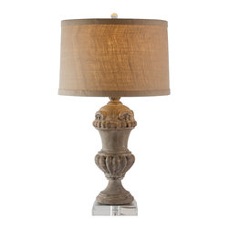 Kathy Kuo Home - Pair Brussels Medium Carved Wood Urn French Country Table Lamp - Hand-crafted for your favorite side table, utilize this fabulous wooden lamp with its contrasting burlap shade. Perfect for an entry table or side board. Wood structure has minor cracks and splits and has a very rustic finish. Price marked is for a pair.